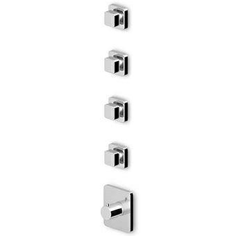 Brausebatterie Einbauthermostat mit 4 Absperrventilen.