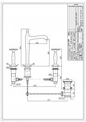 Zucchetti Bellagio 3-Loch-Waschtischbatterie, Kreuzgriff, hoher